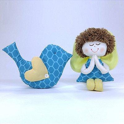 Kit 02 Peças: Almofada Passarinho + Anjinho Coleção Tiffany Azul Turquesa
