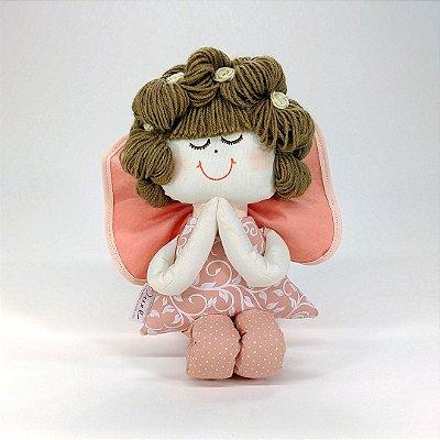 Anjinha Rosé Chic Salmão Floral Com Poá