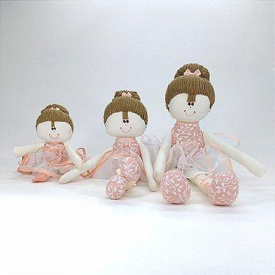 Kit 03 Bailarinas: Pequena, Média E Grande Rosé Chic Salmão Arabesco