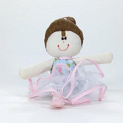 Bailarina Pequena Floral Azul Com Rosa