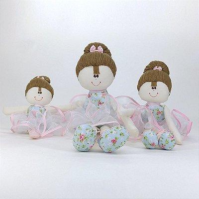 kit 03 bailarinas: Pequena, Média e Grande Azul Com Rosa Floral