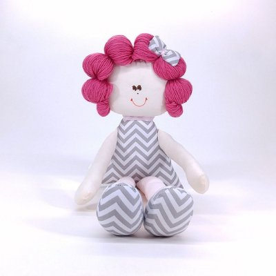 Boneca Sula Média De Rolinho Chevron Cinza E Rosa Cabelo Pink