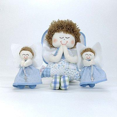 Kit Batizado Menino: 02 Anjinhos De Decoração + 20 Anjinhos Lembrança Azul