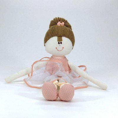 Bailarina Média Rosê Chic Salmão Com Poá Branco