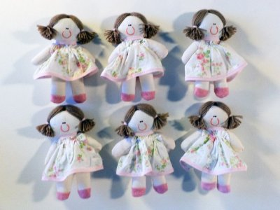 Kit 06 Peças: Boneca Miniatura Rosa Provençal
