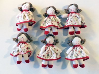 Kit 06 Peças: Boneca Miniatura Floral Vermelho
