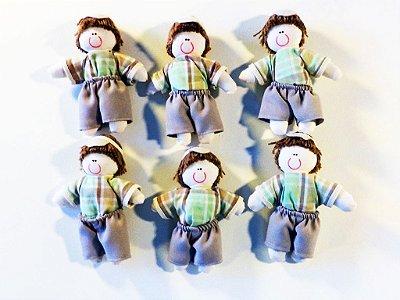 Kit 06 Peças: Boneco Miniatura Dinho Xadrez Verde