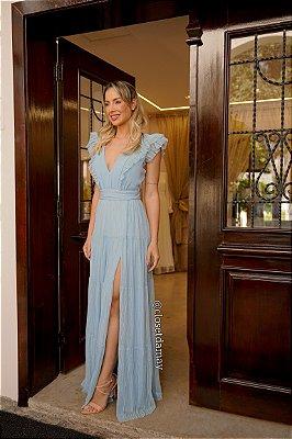 Vestido de festa longo, com decote v, babados e fenda
