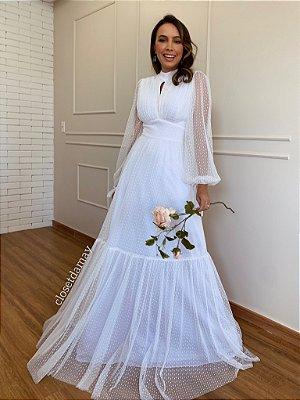 Vestido de noiva longo em tule de poá manga longa para casamento simples intimista
