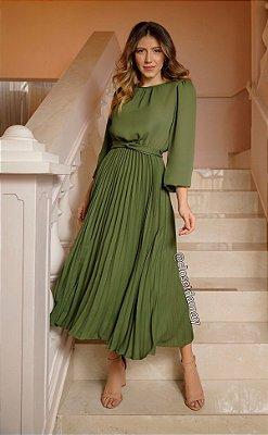 Vestido de festa lady like, com saia plissada e manga longa