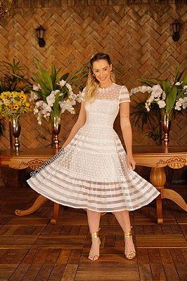 Vestido de noiva lady like, em tule de poá, listras Para casamento civil ou intimista.