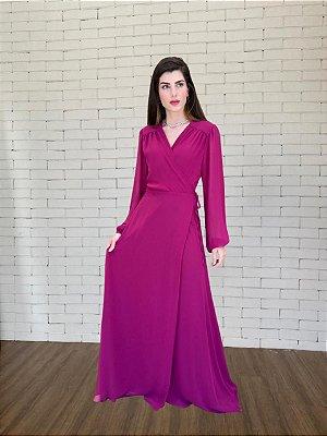 Vestido de festa longo, transpassado, com manga longa e decote V. Para madrinhas e convidadas.