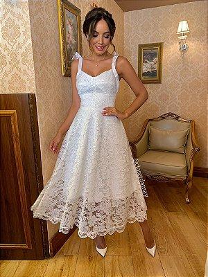 Vestido de noiva lady like, em renda, com alças de laço