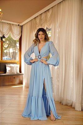 Vestido de festalongo, com recortes na cintura, detalhe de fivela e manga longa