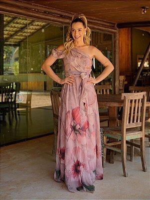 Vestido de festa floral, nula manga, com faixa e saia fluida
