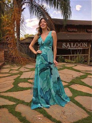 Vestido de festa floral com alças largas e decote V