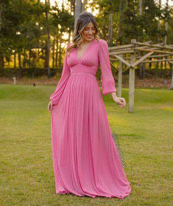 Vestido de festa longo, em lurex, com manga longa e decote V