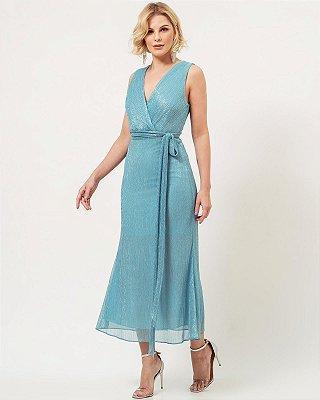 Vestido de festa midi, em lurex, com decote V e alças largas