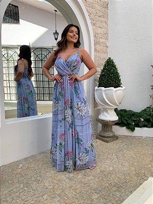 Vestido de festa floral com alças finas e decote V