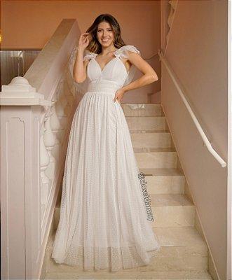 Vestido de noiva longo, em tule de poá, com babados