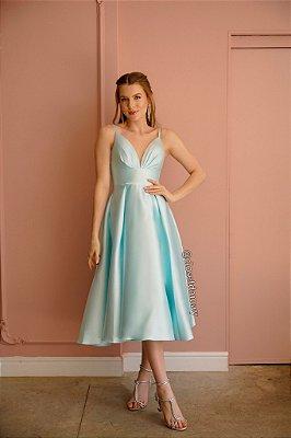 Vestido de festa lady like em zibeline, com franzido no busto