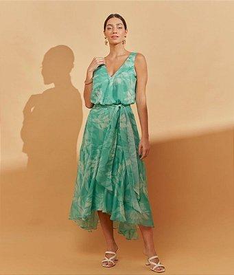 Vestido de festa midi, com estampa floral e saia assimétrica