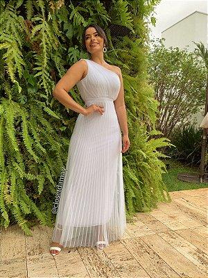 Vestido de noiva longo, com nula manga, em tule com brilho