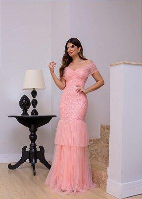 Vestido de festa longo, com mix de tule e tule bordado, modelagem sereia