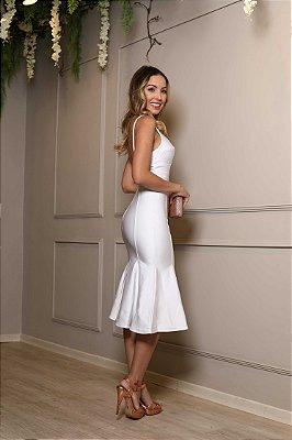 Vestido midi branco alças elastano