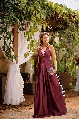 Vestido de festa longo zibeline com cinto chanel cores