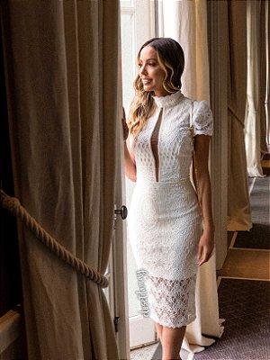 Vestido noiva midi renda com manga curta