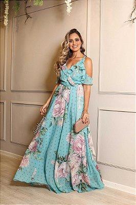 Vestido longo floral estampado