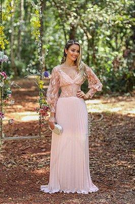 Vestido longo com renda saia plissada