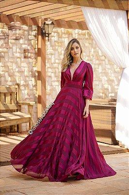 Vestido de festa longo listrado manga longa, madrinha, casamento, formatura