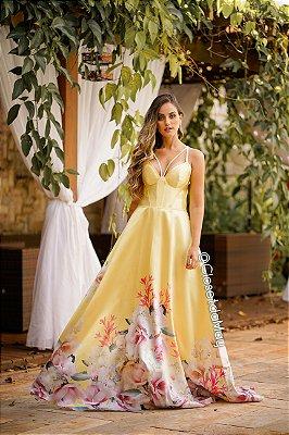 Vestido de festa longo zibeline estampado