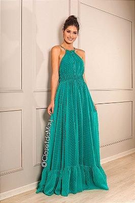 Vestido longo bordados de poá decote
