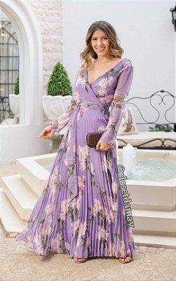 Vestido de festa longo plissado, estampado, em crepe de seda, com mangas longas