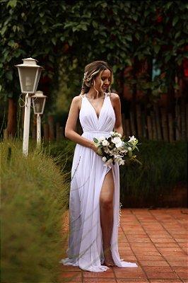 Vestido de noiva trança macramê