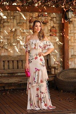 Vestido de festa longo ombro a ombro estampado  floral
