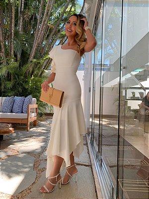 Vestido midi branco nula lurex manga