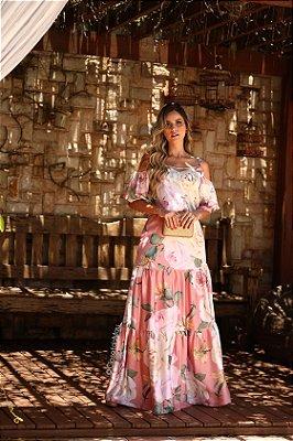 Vestido de festa longo manga babado estampado floral