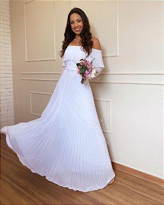 Vestido de noiva manga longa plissado com manga, pre-wedding batizado