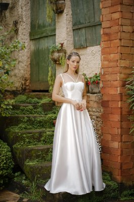 Vestido de noiva longo alça tafetá, pre-wedding, batizado