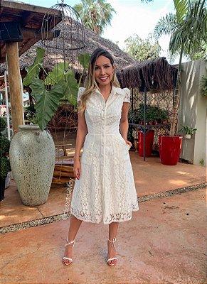 Vestido de noiva midi de renda com tule para festa de casamento, batizado e bodas