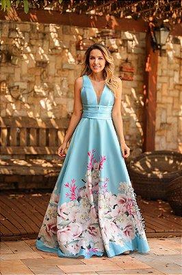 Vestido de festa longo tafetá estampado, casamento, madrinha, formatura