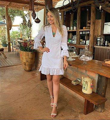 Vestido mini lasie branco, batizado, noivinha, pre wedding, casamento