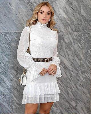 Vestido de noiva curto de tule manga longa, batizado, pre-weding