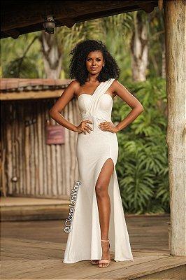 Vestido longo nula manga com brilho, casamento, pre-wedding