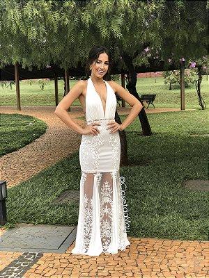 Vestido longo frente unica decote baixo, vestido de noiva, pre wedding,