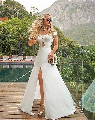 Vestido de noiva branco ombro a ombro com decote, casamento, batizado, pre-wedding